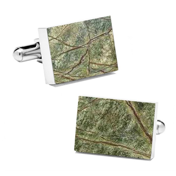 Mikol Marmi - Rainforest Green Rectangular Marble Cuff Links - Real Marble - Mikol Marmi Collection
