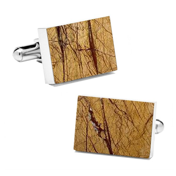 Mikol Marmi - Desert Sand Rectangular Marble Cuff Links - Real Marble - Mikol Marmi Collection