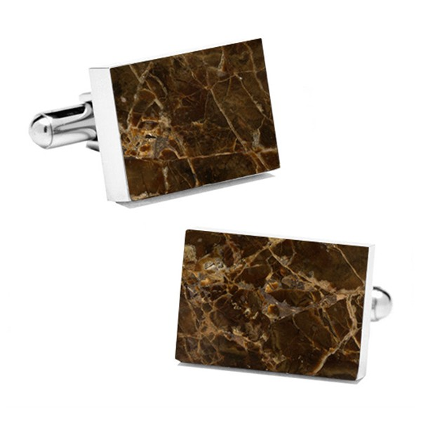 Mikol Marmi - Emperador Rectangular Marble Cuff Links - Real Marble - Mikol Marmi Collection