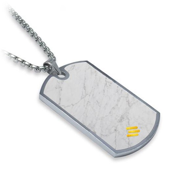Mikol Marmi - White Carrara Gemstone Marble Dog Tag - Real Marble - Mikol Marmi Collection