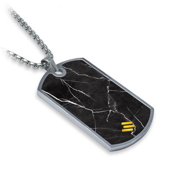 Mikol Marmi - Black Marquina Gemstone Marble Dog Tag - Real Marble - Mikol Marmi Collection