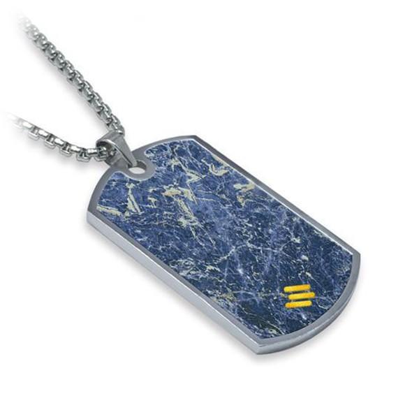 Mikol Marmi - Dog Tag in Marmo Laguna Blu - Medaglietta Militare - Vero Marmo - Mikol Marmi Collection
