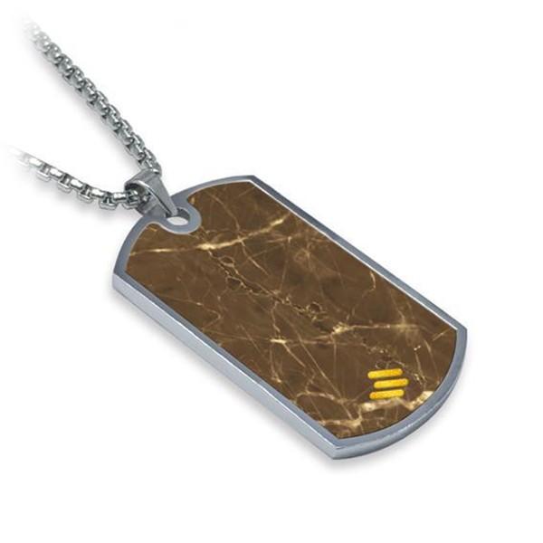 Mikol Marmi - Dog Tag in Marmo Emperador - Medaglietta Militare - Vero Marmo - Mikol Marmi Collection