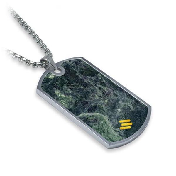 Mikol Marmi - Dog Tag in Marmo Verde Smeraldo - Medaglietta Militare - Vero Marmo - Mikol Marmi Collection