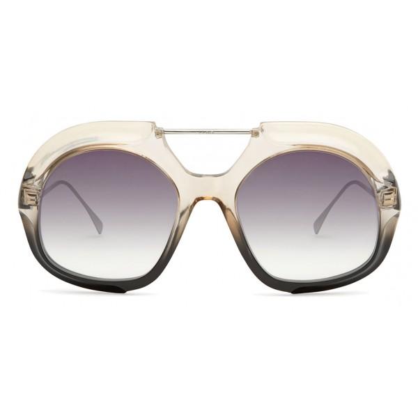 Fendi - Tropical Shine - Crystal & Black Aviator Oversize Sunglasses - Sunglasses - Fendi Eyewear