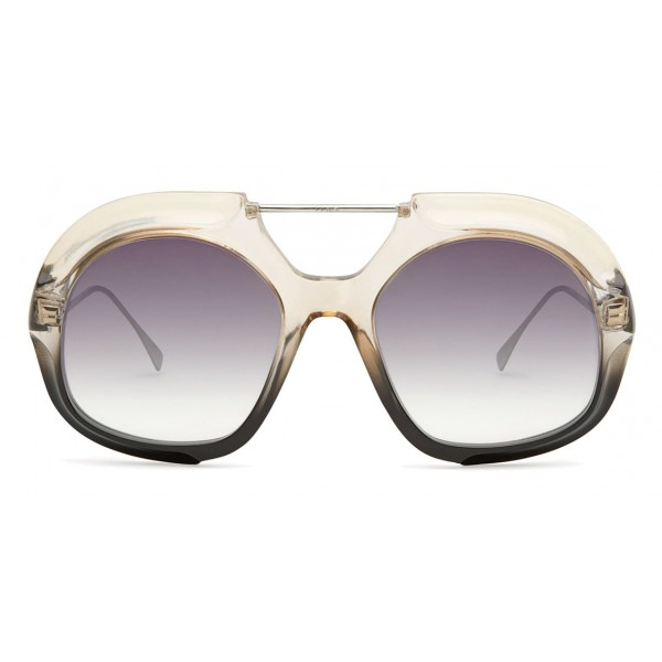 Fendi - Tropical Shine - Occhiali da Sole Aviator Oversize Crystal e Nero - Occhiali da Sole - Fendi Eyewear