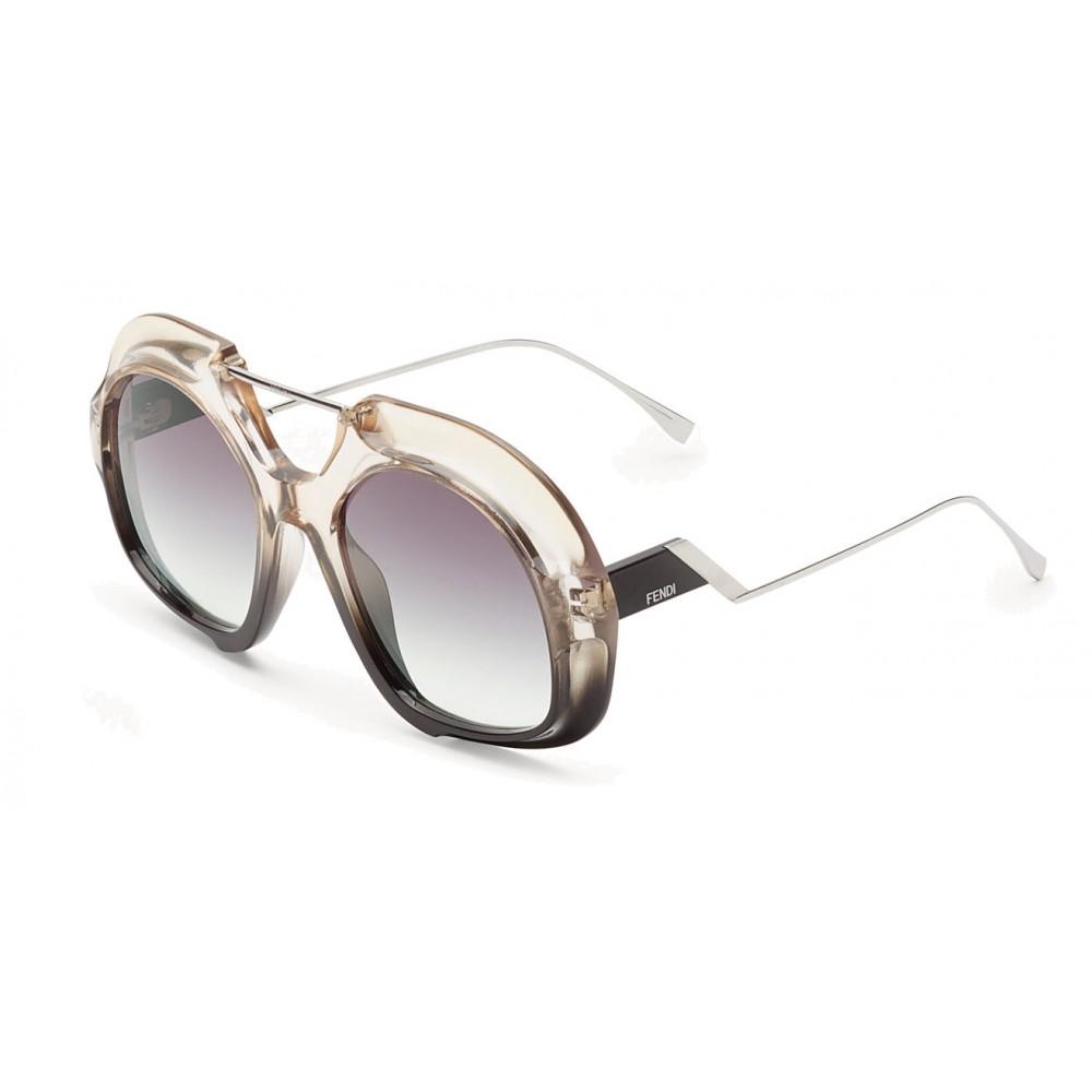 729478080a7e ... Fendi - Tropical Shine - Crystal   Black Aviator Oversize Sunglasses -  Sunglasses - Fendi Eyewear ...