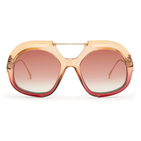 Fendi - Tropical Shine - Occhiali da Sole Aviator Oversize Rosa e Rosso - Occhiali da Sole - Fendi Eyewear