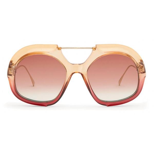 Fendi - Tropical Shine - Rose & Red Aviator Oversize Sunglasses - Sunglasses - Fendi Eyewear