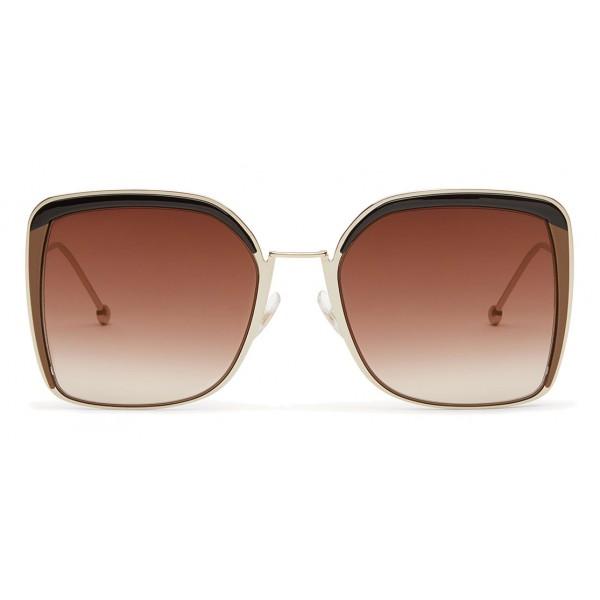 Fendi - F is Fendi - Occhiali da Sole Squadrata Oversize Oro - Occhiali da Sole - Fendi Eyewear