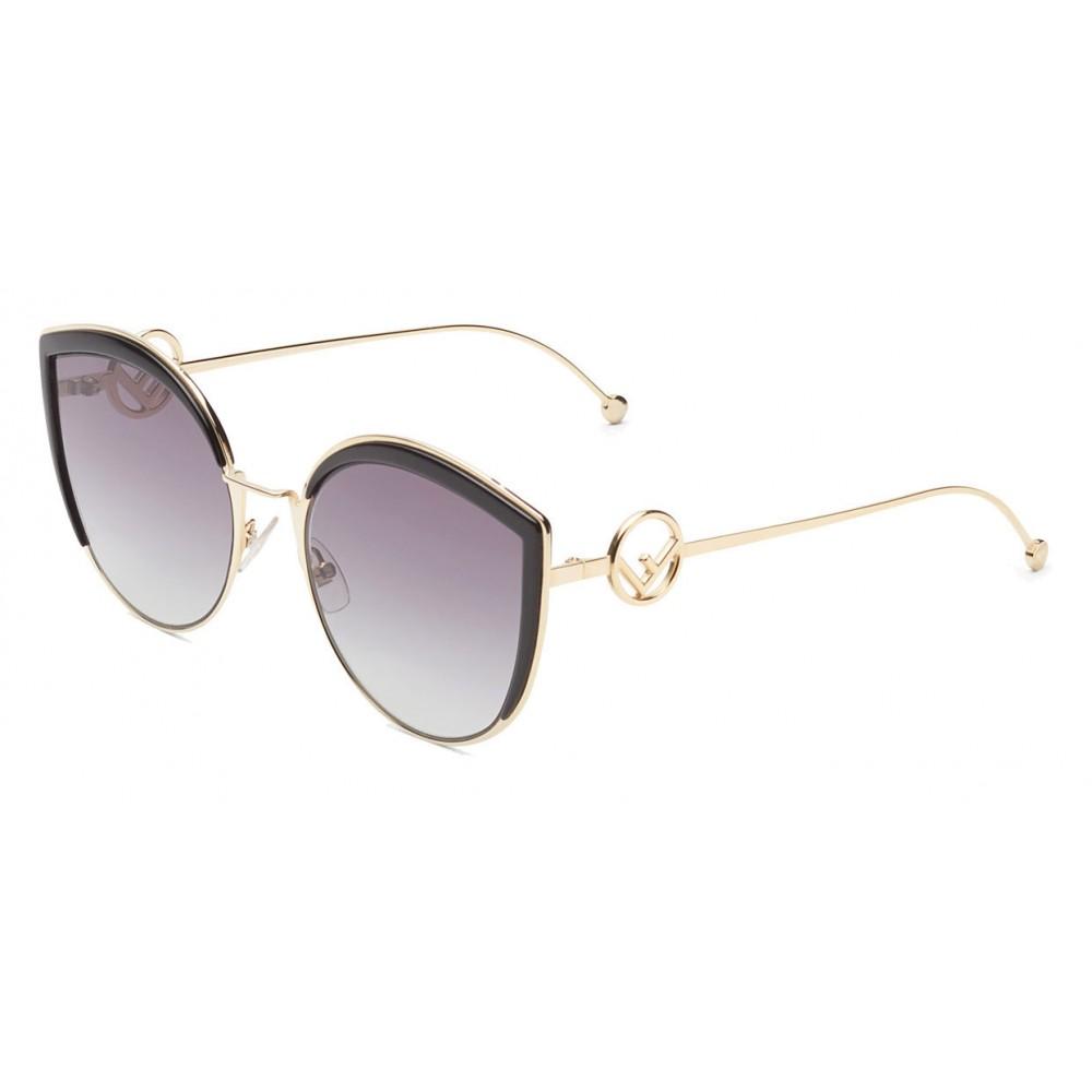 36cf689d39 ... Fendi - F is Fendi - Gold Cat Eye Oversize Sunglasses - Sunglasses - Fendi  Eyewear ...