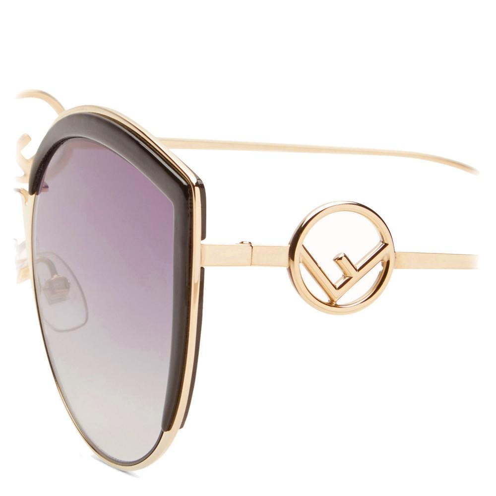 6520c15044 ... Fendi - F is Fendi - Gold Cat Eye Oversize Sunglasses - Sunglasses - Fendi  Eyewear