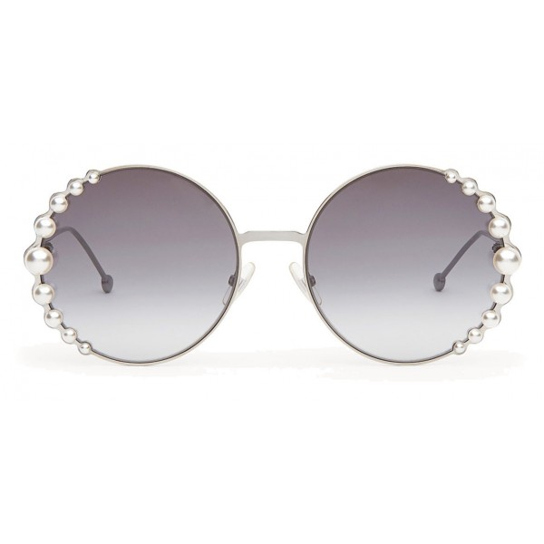 186a284299485 Fendi - Ribbons and Pearls - Ruthenium Round Oversize Sunglasses -  Sunglasses - Fendi Eyewear - Avvenice