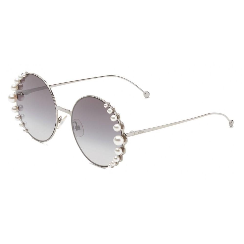 5d3c4a66cba4b ... Fendi - Ribbons and Pearls - Ruthenium Round Oversize Sunglasses -  Sunglasses - Fendi Eyewear ...