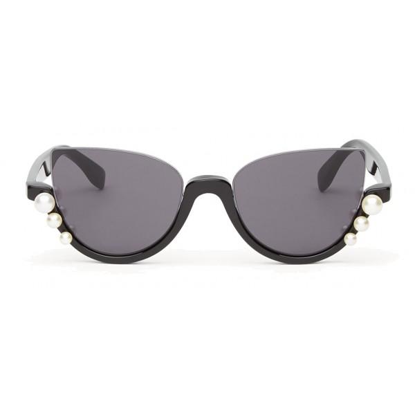564c95dee9 Fendi - Ribbons and Pearls - Black Cat Eye Oversize Sunglasses - Sunglasses  - Fendi Eyewear - Avvenice
