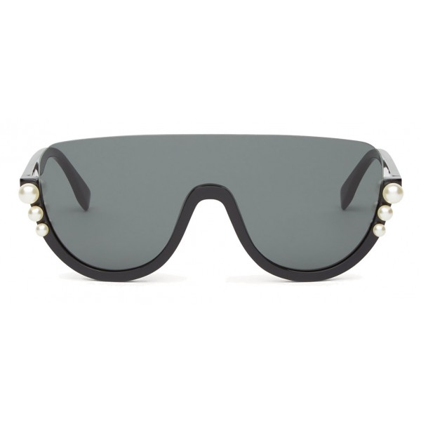ae0fabd28c56 Fendi - Ribbons and Pearls - Black Mask Oversize Sunglasses - Sunglasses - Fendi  Eyewear - Avvenice