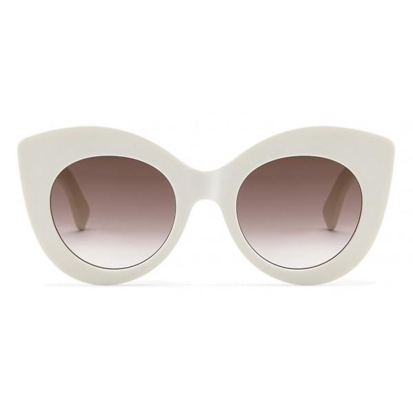 06256fb7d2 Fendi - F is Fendi - White and Brown Cat Eye Sunglasses - Sunglasses - Fendi  Eyewear - Avvenice