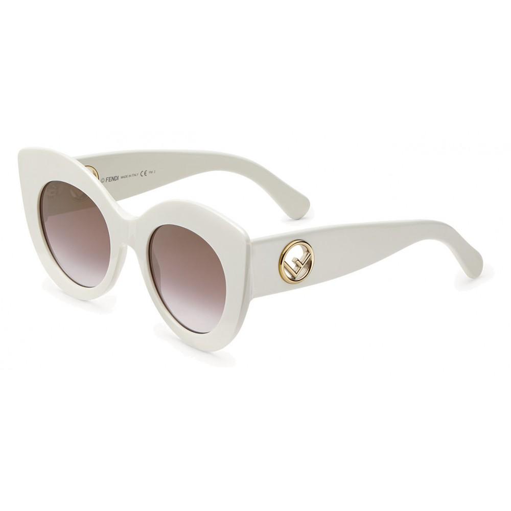 9ce3539a05 ... Fendi - F is Fendi - White and Brown Cat Eye Sunglasses - Sunglasses -  Fendi ...