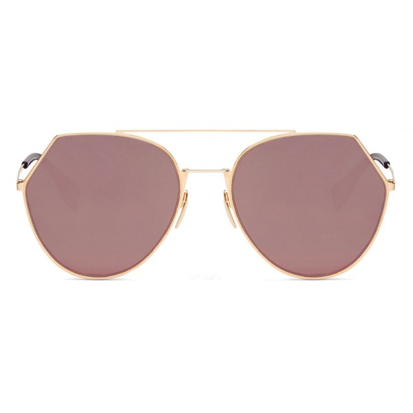 a3c13995c82 Fendi - Eyeline - Gold Rounded Sunglasses - Sunglasses - Fendi Eyewear -  Avvenice
