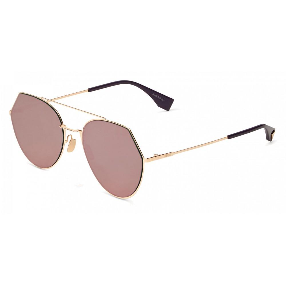 15e72b1e8a6 ... Fendi - Eyeline - Gold Rounded Sunglasses - Sunglasses - Fendi Eyewear  ...