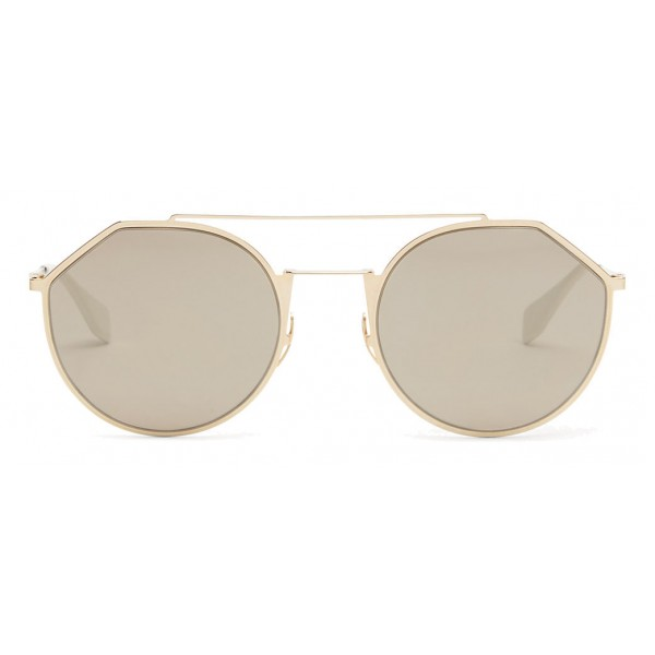 b68538c679f Fendi - Eyeline - White and Gold Round Sunglasses - Sunglasses - Fendi  Eyewear - Avvenice