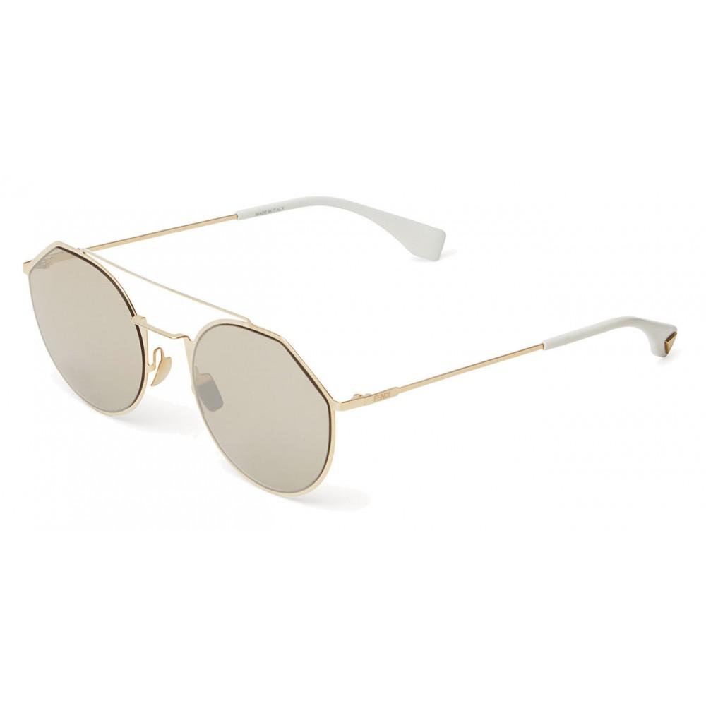 00257a9676e ... Fendi - Eyeline - White and Gold Round Sunglasses - Sunglasses - Fendi  Eyewear ...