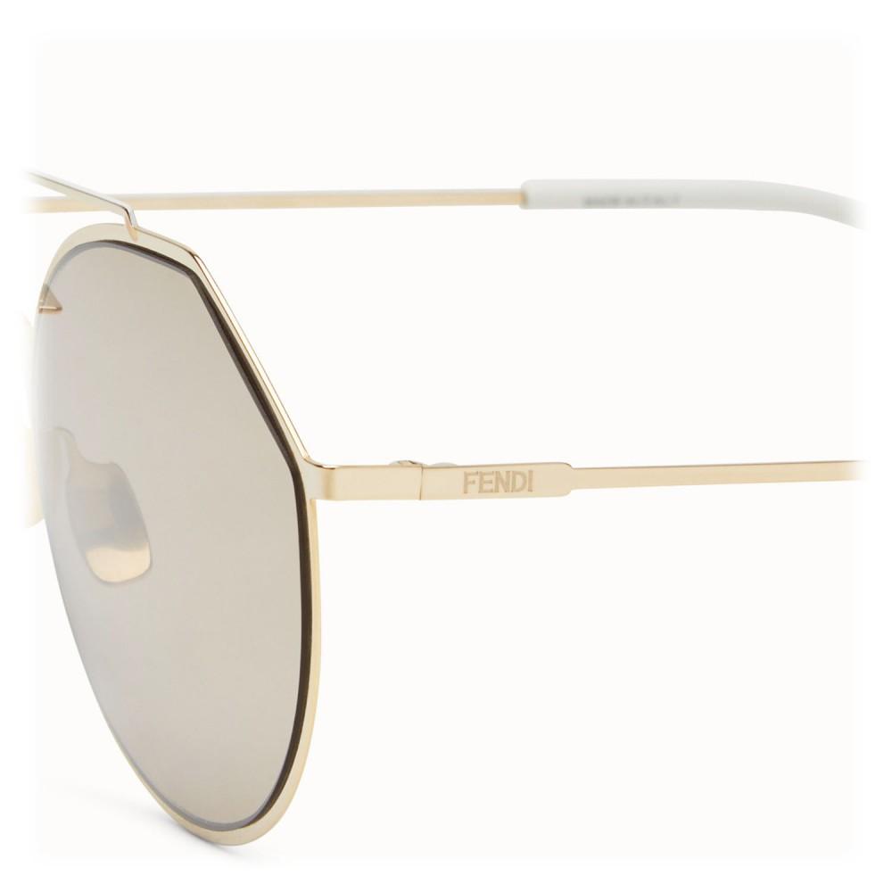 cc67ff06d10 ... Fendi - Eyeline - White and Gold Round Sunglasses - Sunglasses - Fendi  Eyewear