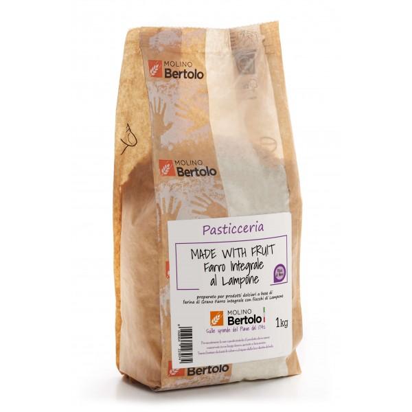 Molino Bertolo - Farina Integrale al Lampone - Made With Fruit - Farina di Grano Farro Integrale con Fiocchi di Lampone - 1 Kg
