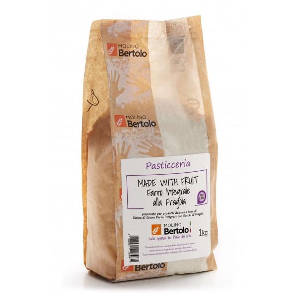 Molino Bertolo - Farina Integrale alla Fragola - Made With Fruit - Farina di Grano Farro Integrale con Fiocchi di Lampone - 1 Kg