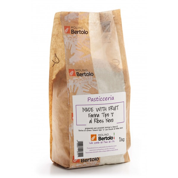 Molino Bertolo - Black Currant Type 1 Flour - Made With Fruit - Type 1 Soft Wheat Flour with Black Currant Flakes - 1 Kg