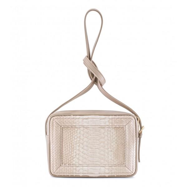 Aleksandra Badura - Camera Bag - Mini Borsa in Pitone e Pelle di Vitello - Beige - Borsa in Pelle di Alta Qualità di Luxury