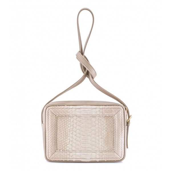 Aleksandra Badura - Camera Bag - Python & Calfskin Mini Bag - Beige - Luxury High Quality Leather Bag