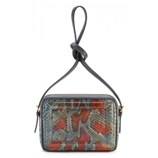 Aleksandra Badura - Camera Bag - Python & Calfskin Mini Bag - Orange & Grey - Luxury High Quality Leather Bag