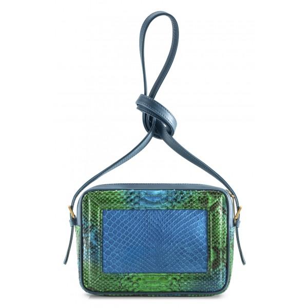 Aleksandra Badura - Camera Bag - Mini Borsa in Pitone e Pelle di Vitello - Blu, Verde e Oceano - Alta Qualità di Luxury