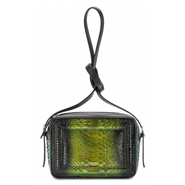 Aleksandra Badura - Camera Bag - Python & Calfskin Mini Bag - Onyx & Green - Luxury High Quality Leather Bag