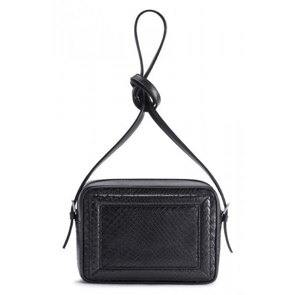 Aleksandra Badura - Camera Bag - Mini Borsa in Pitone e Pelle di Vitello - Nera - Alta Qualità di Luxury
