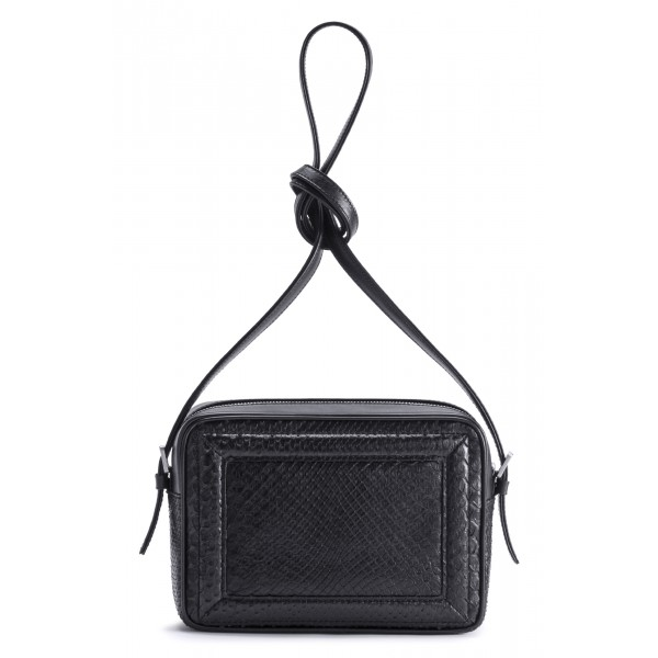 Aleksandra Badura - Camera Bag - Mini Borsa in Pitone e Pelle di Vitello - Nera - Alta Qualità Luxury