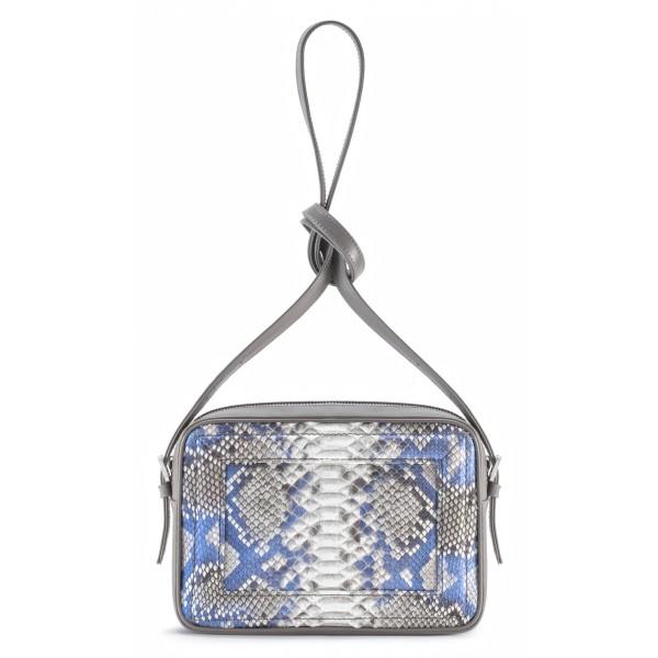 Aleksandra Badura - Camera Bag - Mini Borsa in Pitone e Pelle di Vitello - Grigio & Cielo - Alta Qualità di Luxury