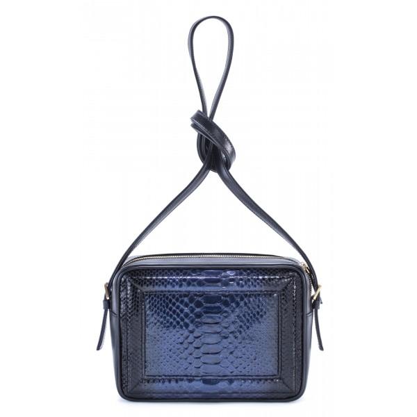 Aleksandra Badura - Camera Bag - Mini Borsa in Pitone e Pelle di Vitello - Blu - Alta Qualità di Luxury