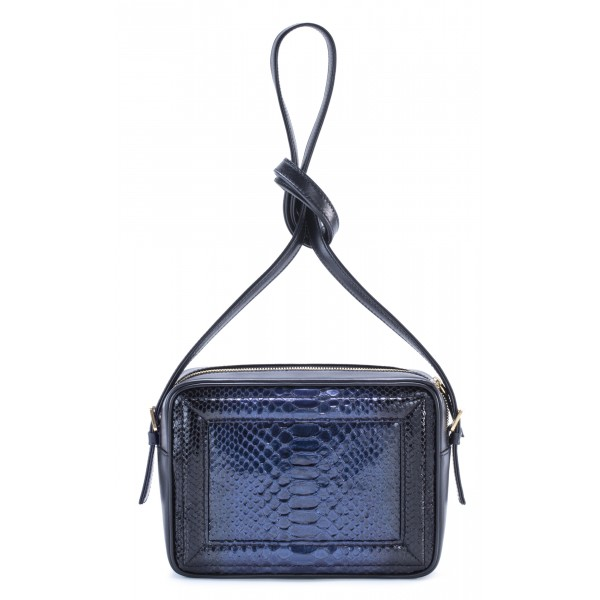 Aleksandra Badura - Camera Bag - Python & Calfskin Mini Bag - Blue - Luxury High Quality Leather Bag