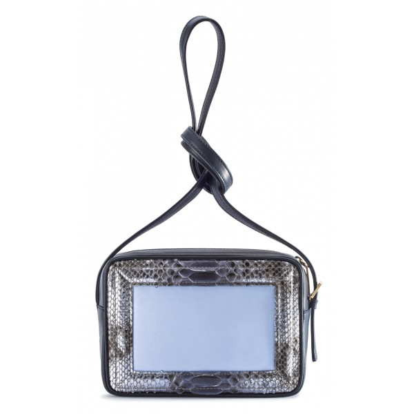 Aleksandra Badura - Camera Bag - Mini Borsa in Pitone e Pelle di Vitello - Blu Cielo - Alta Qualità di Luxury