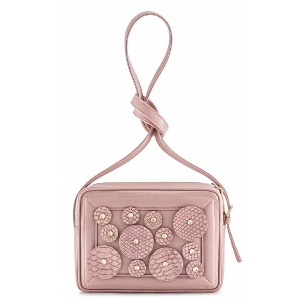 Aleksandra Badura - Camera Bag - Mini Borsa in Pitone e Pelle di Vitello - Rosa Quarzo - Alta Qualità di Luxury