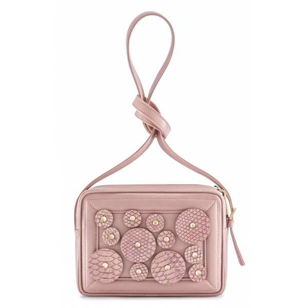 Aleksandra Badura - Camera Bag - Mini Borsa in Pitone e Pelle di Vitello - Rosa Quarzo - Alta Qualità Luxury