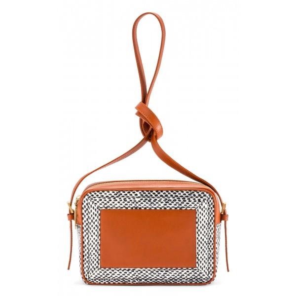 Aleksandra Badura - Camera Bag - Mini Borsa in Pitone e Pelle di Vitello - Arancione Pois - Alta Qualità di Luxury