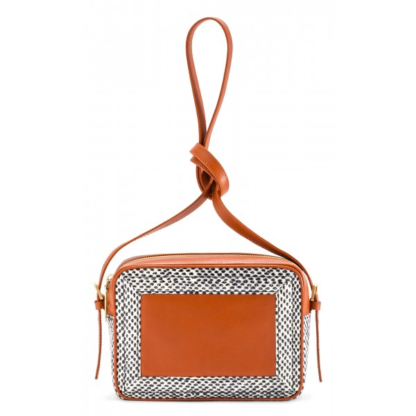Aleksandra Badura - Camera Bag - Python & Calfskin Mini Bag - Orange Pois - Luxury High Quality Leather Bag