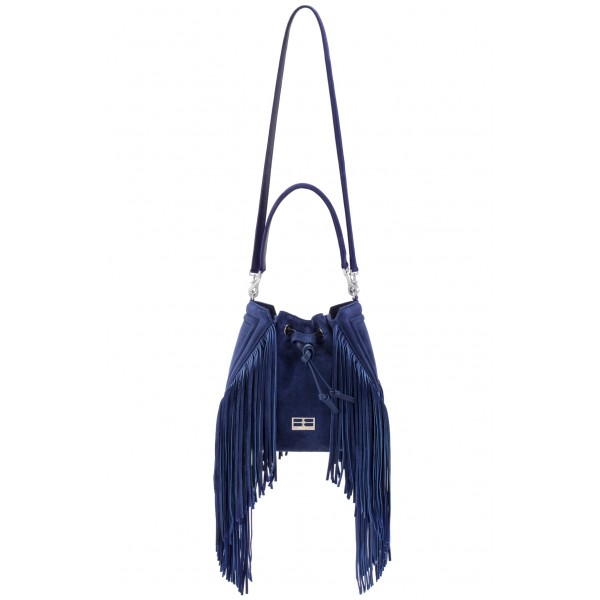 Aleksandra Badura - Lucky Bucket Bag Medium - Borsa a Frange Media - Blu China - Alta Qualità Luxury