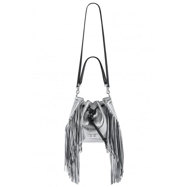 Aleksandra Badura - Lucky Bucket Bag Medium - Borsa a Frange Media - Argento - Alta Qualità di Luxury