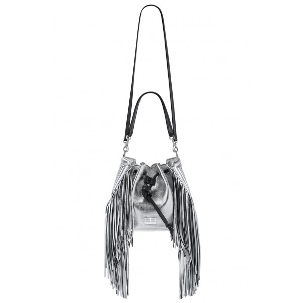 Aleksandra Badura - Lucky Bucket Bag Medium - Fringe Bucket Bag Medium - Silver - Luxury High Quality Leather Bag