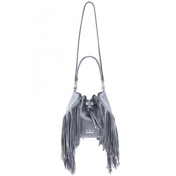 Aleksandra Badura - Lucky Bucket Bag Medium - Borsa a Frange Media - Grigio - Alta Qualità di Luxury