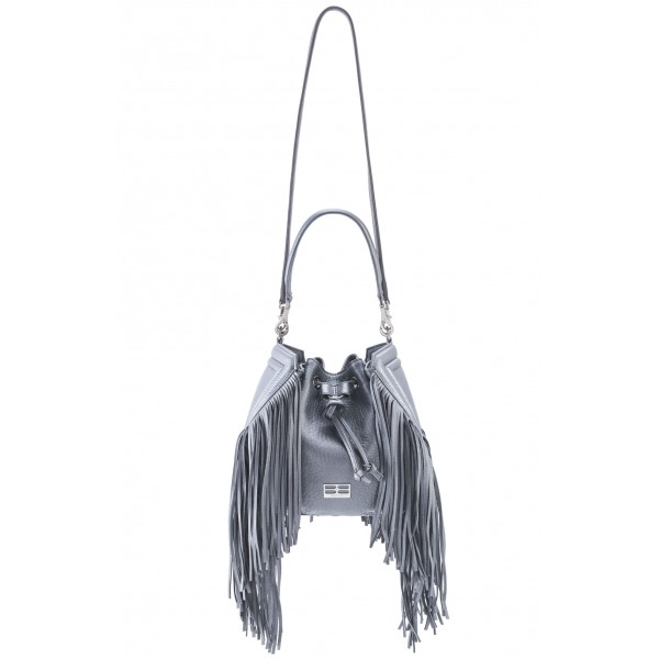 Aleksandra Badura - Lucky Bucket Bag Medium - Fringe Bucket Bag Medium - Grey - Luxury High Quality Leather Bag